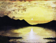 Waterfowl Paintings - Silhouette Lagoon by Brian Wallace