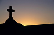 Spirituality Metal Prints - Silhouette of a cross on grave in the Marine cemetery of Bonifac Metal Print by Sami Sarkis