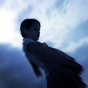 Silhouette Of A Girl Against The Sky Print by Joana Kruse