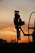 Copy Machine Tapestries Textiles - Silhouette Of A M240g Medium Machine by Terry Moore