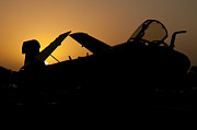 Prowler Photos - Silhouette Of An Ea-6b Prowler by Giovanni Colla