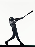 Batting Helmet Posters - Silhouette Of Baseball Batter Swinging Bat, Side View Poster by PM Images