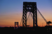 George Washington Photo Posters - Silhouette Of George Washington Bridge At Sunset Poster by Ray Warren