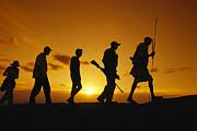 Silhouette Of Laikipia Masai Guides Print by Richard Nowitz