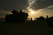 Exercise Art - Silhouette Of Marines And An Amphibious by Stocktrek Images