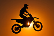 Lens Flare Posters - Silhouette Of Motocross At Sunset Poster by Shahbaz Hussain