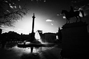 Trafalgar Square Posters - silhouette of nelsons column one of the plinths and fountain inTrafalgar Square London England UK  Poster by Joe Fox