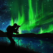 Camera Prints - Silhouette Of Photographer Shooting Stars Print by Setsiri Silapasuwanchai