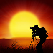 Discovery Photo Prints - Silhouette Of Photographer With Big Sun  Print by Setsiri Silapasuwanchai