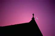 Spirituality Art - Silhouette Of Roof With Crescent Moon by Paul Simcock