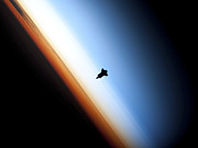 Endeavour Prints - Silhouette Of Space Shuttle Endeavour Print by Stocktrek Images
