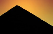 Great Shape Framed Prints - Silhouette of the Great Pyramid of Giza at sunset Framed Print by Sami Sarkis