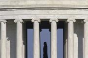 Silhouette Of The Jefferson Memorial Print by Kenneth Garrett