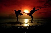 Action Sport Arts Framed Prints - Silhouette Of Two People Fighting Framed Print by Antoni Halim
