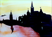 City Buildings Drawings Prints - Silhouette Stockholm Print by Eva Ason