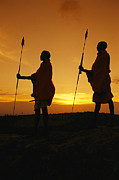 Guides Metal Prints - Silhouetted Laikipia Masai Guides Metal Print by Richard Nowitz