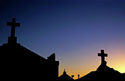 Casualties Prints - Silhouetted tombstones in the Marine Cemetery in Bonifacio Print by Sami Sarkis