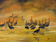 Sandhill Crane Prints - Silhouettes in the Mist Print by Dee Carpenter