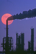 Factory Photos - Silhouettes Of Factory Smokestacks And Moon At Dusk by VisionsofAmerica/Joe Sohm