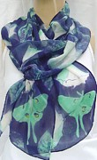 White Flower Tapestries - Textiles Originals - silk chiffon scarf Luna Moth on Datura by Morgan Silk