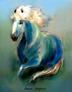 Mustang Paintings - Silk in Green by Tarja Stegars