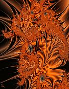 Silk Digital Art Framed Prints - Silk in Orange Framed Print by Ron Bissett