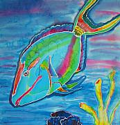 Fish Tapestries - Textiles Originals - Silk Parrotfish by Kelly     ZumBerge