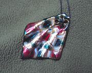 Hand Painted Pendant Jewelry - Silk Scarf  by Asya Ostrovsky