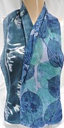 Art To Wear Tapestries - Textiles - silk scarf crepe Deep Hosta by Morgan Silk