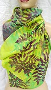 Silk Scarf Tapestries - Textiles Originals - Silk Scarf Large Ferns chartreuse purple by Morgan Silk