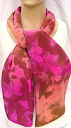 Pink Tapestries - Textiles Originals - silk scarf Large Long Azalea by Morgan Silk