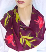 Silk Scarf Tapestries - Textiles Originals - Silk Scarf Tiger Lily deep burgundy by Morgan Silk