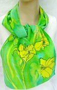 Silk Scarf Tapestries - Textiles Originals - silk scarf Yellow Lily Fresh Green crepe by Morgan Silk