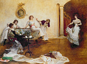Lace Dress Prints - Silks and Satins Print by Albert Chevallier Tayler