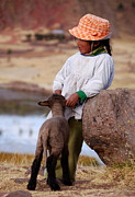 Little Girl Prints - Sillustani Girl with hat and lamb Print by RicardMN Photography