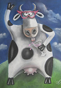 Humorous Pastels Framed Prints - Silly Cow Framed Print by Caroline Peacock