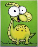 Extinct And Mythical Pastels Originals - SiLLy DiNOsAUR by Mara Morea