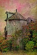 Old Mixed Media Metal Prints - Silo In Overgrowth Metal Print by Deborah Benoit