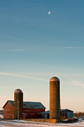 Rural Indiana Prints - Silo Moon Print by F Lee Photography
