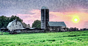 Farm Fields Framed Prints - Silo Sunset II Framed Print by Dan Carmichael