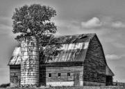 Old Barns Metal Prints - Silo Tree Black and White Metal Print by Kristie  Bonnewell