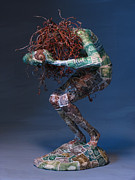 Grape Vine Mixed Media Prints - Silvan Offering a sculpture by Adam Long Print by Adam Long