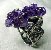 Flower Ring Jewelry - Silver 925 Ring-ametist by Jonatan Kor
