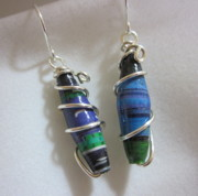 Paper Jewelry - Silver and Paper 3 Earrings by Janet  Telander