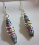 Paper Jewelry - Silver and Paper 8 Earrings by Janet  Telander