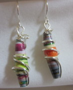 Paper Jewelry - Silver and Paper 9 Earrings by Janet  Telander