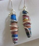Paper Jewelry - Silver and Paper Earrings 1 by Janet  Telander