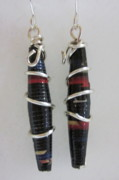Paper Jewelry - Silver and Paper Earrings 2 by Janet  Telander