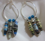 Paper Jewelry - Silver and Paper Hoops 7 Earrings by Janet  Telander