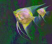 Angel Fish Posters - Silver Angels Poster by Thanh Thuy Nguyen